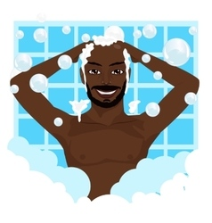African american smiling man washing his hair vector