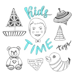 Hand drawn kids toys with boy and lettering - kids vector