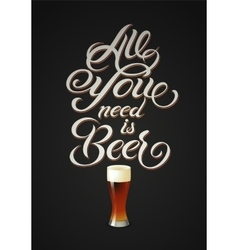 Vintage calligraphic beer design vector image