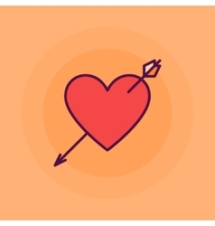 Heart with arrow flat vector