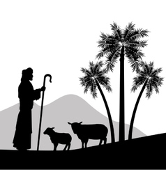 Shepherd and his sheeps icon graphic vector