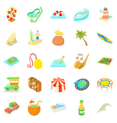 Adventure icons set cartoon style vector