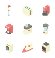 Appliances for kitchen icons set cartoon style vector