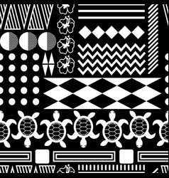 black and white hawaiian culture ornament seamless vector image