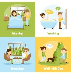 Daily people 2x2 compositions vector