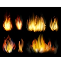 Fire Realistic elements set vector image
