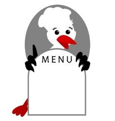 Funny stork bird shows menu vector