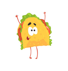 funny taco cartoon character meat and vegetables vector image vector image
