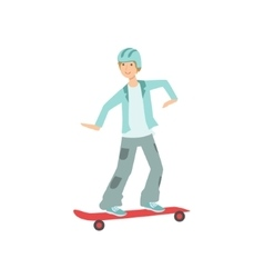 Guy Riding Skateboard In Helmet vector image vector image