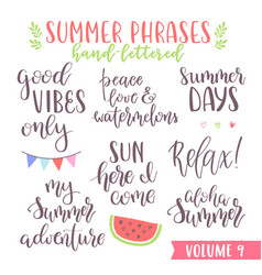 Hand written summer lettering phrases vector