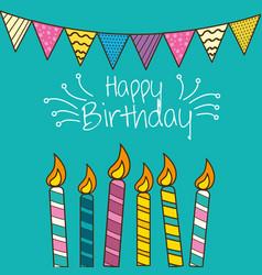 Happy birthday celebration with decorations design vector