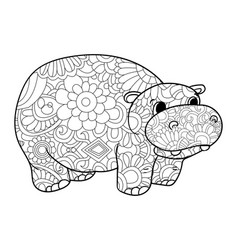 hippopotamus coloring for adults animal vector image vector image