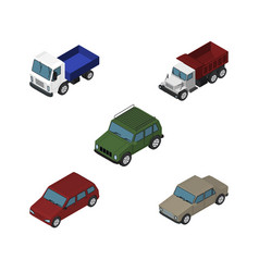 Isometric automobile set of auto armored car and vector