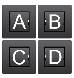 Letter series a to d from mechanical scoreboard vector