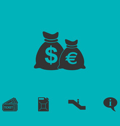 Money bags with currency symbols icon flat vector