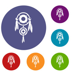 Native american dreamcatcher icons set vector