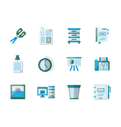 Office accessories flat color icons set vector