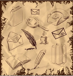 Office set reading writing communicating objects vector image