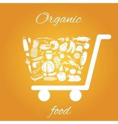 Organic food cart vector image vector image
