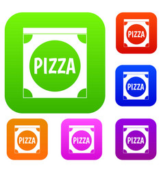 pizza box cover set color collection vector image