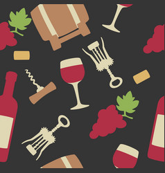 seamless pattern set wine icon bottle glass of vector image vector image