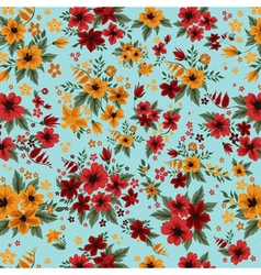 Seamless Pattern with Red and Yellow Flowers vector image