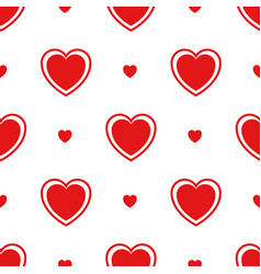 seamless pattern with red hearts isolated on white vector image