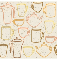 Seamless pattern with teapots and cups silhouettes vector image vector image