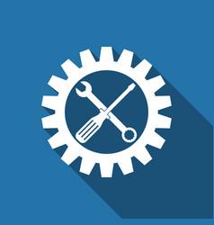 Service tool screwdriver spanner and cogwheel vector