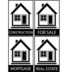 Set home for sale construction and mortgage vector