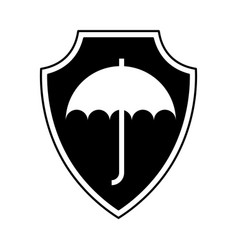 Shield insurance with umbrella isolated icon vector