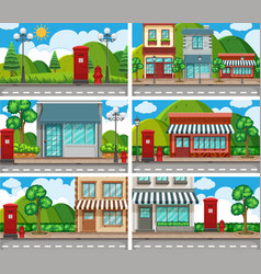 Six scenes of neighbors with building along the vector