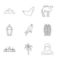 Stay in UAE icons set outline style vector image vector image