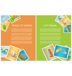 Two vertical cards travel to taiwan and lets go vector