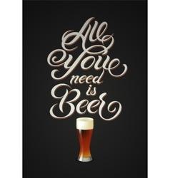 Vintage calligraphic beer design vector image vector image