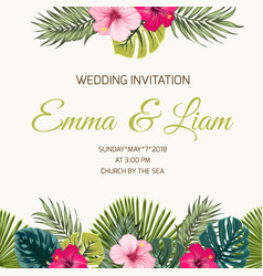 Wedding invitation tropic leaves hibiscus greenery vector
