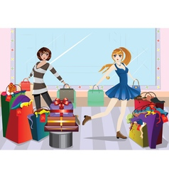 Fashion Girls at Shopping2 vector image