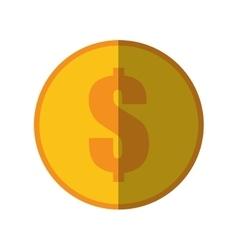 Coin dollar money currency icon color shadow vector