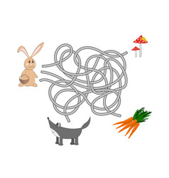kids maze help rabbit to find a way out vector image