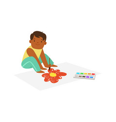 Cute litttle boy sitting onthe floor and drawing vector