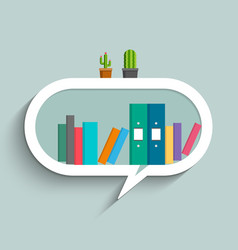 bookshelf in form of speech bubble with colorful vector image