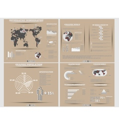 Infographic demographics website brown vector