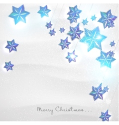 Christmas background with blue stars garland vector