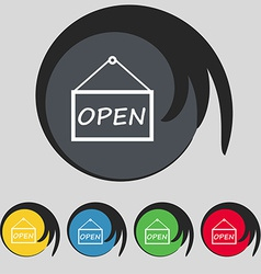 Open icon sign symbol on five colored buttons vector
