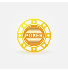 Poker chip gold icon vector