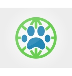 Logo design element paw animal globe vector