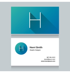Business card letter h vector