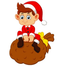 Little santa sitting on sack vector