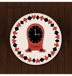 Clocks - drink coaster from wonderland on wooden vector