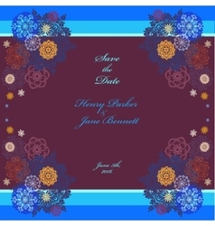 Winter wedding frame with violet and blue vector